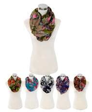 12 Pcs Assorted Viscose Infinity Paisley Scarf LS4440IF