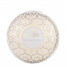 Voluspa Maison Blanc Collection Suede Blanc Two Wick Tin Candle