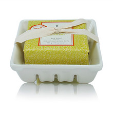 Thymes Mandarin Coriander Collection Bar Soap and Dish Set