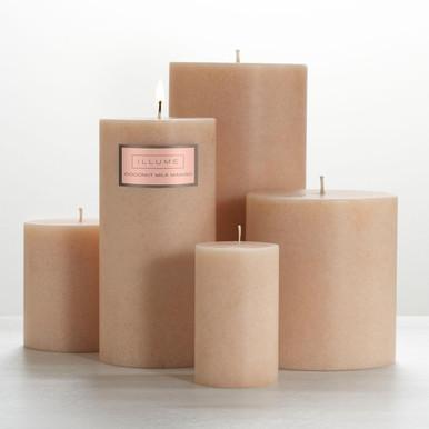 "Illume Coconut Milk Mango 3"" x 3"" x 3.5"" Pillar Candle"