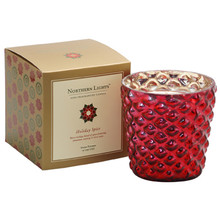 Northern Lights Jubilee Collection Holiday Spice Crimson Glass Candle