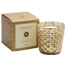 Northern Lights Jubilee Collection French Vanilla Gold Glass Candle