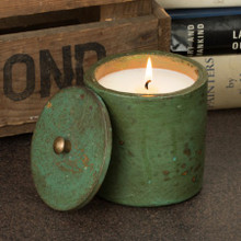 Himalayan Trading Post Jaipur Terracotta Mistletoe Green & Gold Layers Candle