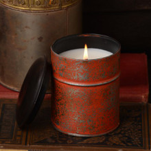Himalayan Trading Post Tobacco Bark Burnt Orange Spice Tin Candle