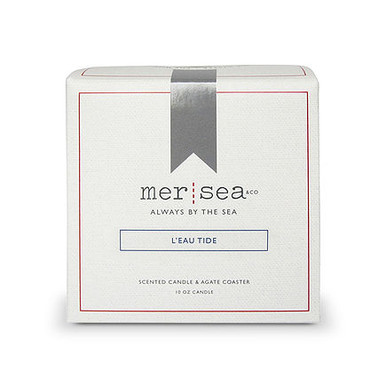 Mer Sea L'eau Tide Boxed Candle With Agate Coaster