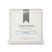 Mer Sea Crisp Sails Boxed Candle With Agate Coaster