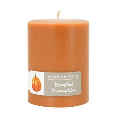 "Northern Lights Roasted Pumpkin 3"" x 4"" Pillar Candle"