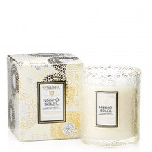 Voluspa Japonica Collection Nissho Soleil Scalloped Edge Glass Candle
