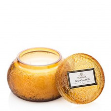 Voluspa Japonica Collection Baltic Amber Embossed Glass Chawan Bowl With Lid