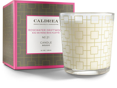 Caldrea No. 21 Rosewater Driftwood Glass Candle