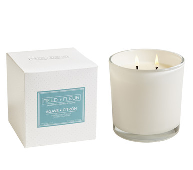 Hillhouse Naturals Agave Citron White Glass 2-Wick Candle