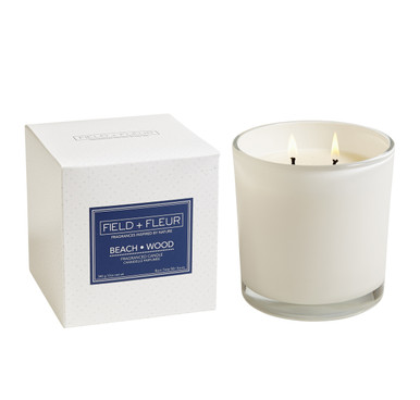 Hillhouse Naturals Beach Wood White Glass 2-Wick Candle