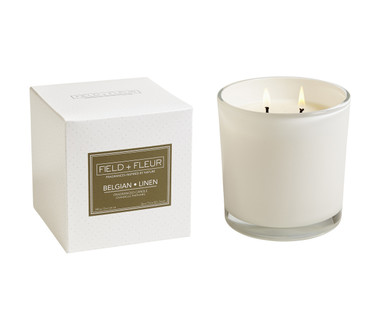 Hillhouse Naturals Belgian Linen White Glass 2-Wick Candle