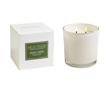 Hillhouse Naturals Cedar Amber White Glass 2-Wick Candle