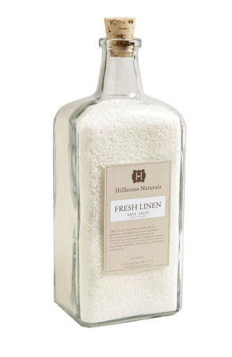 Hillhouse Naturals Fresh Linen Bath Salts in Glass Bottle