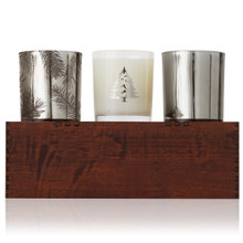 Thymes Frasier Fir Collection Wooden Candle Trio