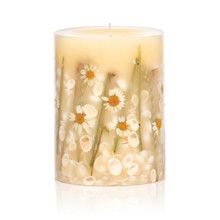 Rosy Rings Beach Daisy Botanical 5 x 6.5 Pillar Candle
