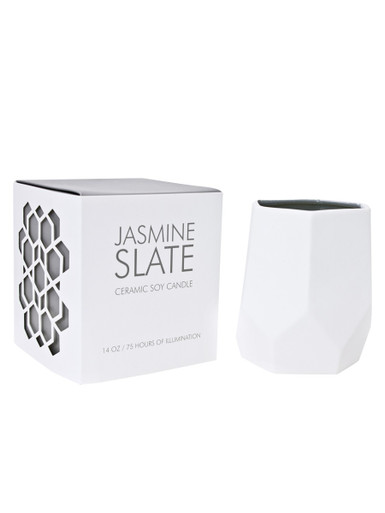 D.L. & Co. Jasmine Slate 14 oz. Abstract Candle