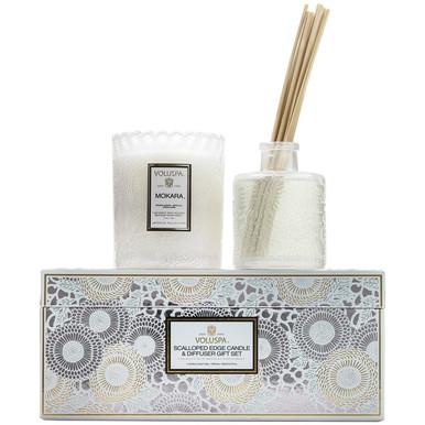 Voluspa Japonica Collection Mokara Scalloped Edge Candle & Diffuser Gift Set