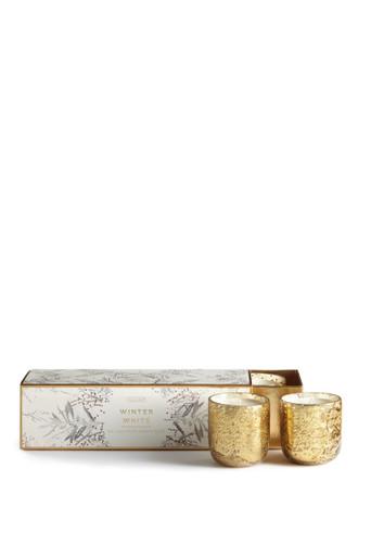 Illume Winter White Luxe Sanded Mercury Glass 3 Votive Candle Set