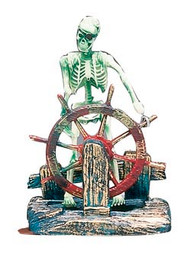 Penn-Plax Action Air Pirate Skeleton-at-the-Wheel Aquarium Ornament