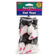 Penn Plax Purr-Pet Bag of Mice Pet Toy 12pk