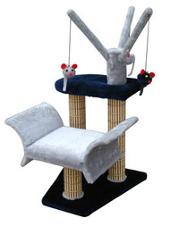 Penn Plax Navy Cat Lounger with Tree & Post