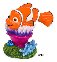 Penn Plax Finding Nemo Resin Ornament for Aquariums Nemo on Anemone 4-Inch