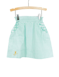 Blue Smocked Waist Gingham Skirt
