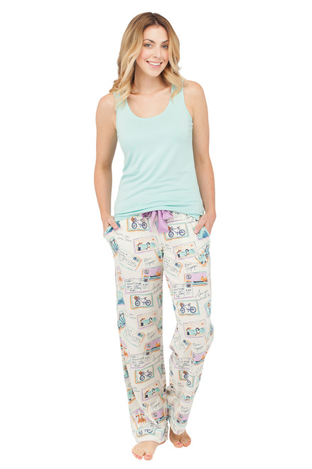 Postcards Jersey Scoop Neck Tank and Jersey Pant Set