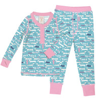 Wiener Dog Sweaters Long John PJ Set (MK01021)