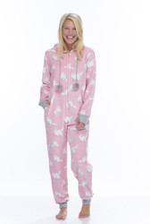 Pink Cat Coral Fleece One Piece
