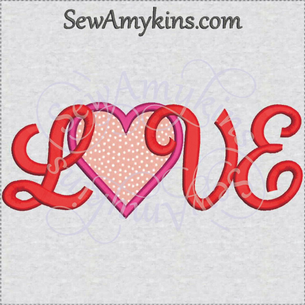 Love heart applique capital script letters machine embroidery
