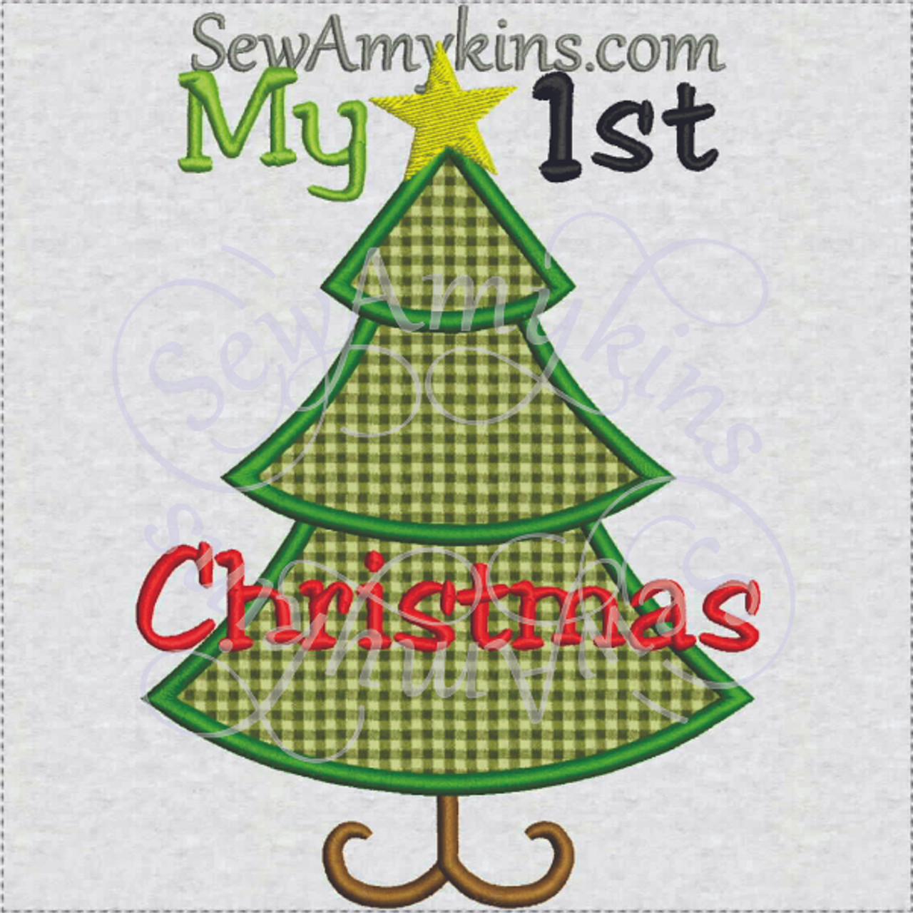 my 1st christmas tree applique star embroidery design boy baby first - Christmas Tree Applique