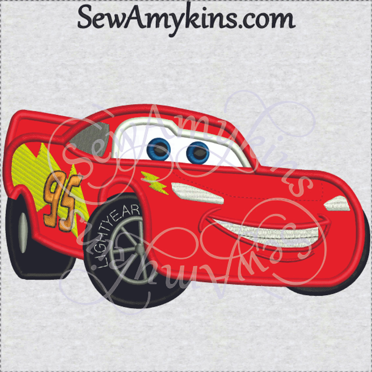 Lightning Mcqueen Race Cars Applique Machine Embroidery Design