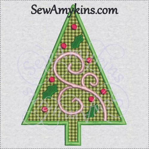 applique christmas tree ornament holly swirl machine embroidery bulb - Christmas Tree Applique