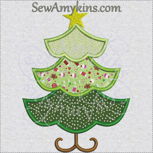 christmas tree applique 3 layer star embroidery design girly - Christmas Tree Applique