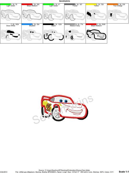 Lightning Mcqueen Race Cars Applique Machine Embroidery Design