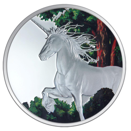 Creatures of Myth & Legend - Unicorn 1oz Silver Coloured Proof  Tokelau Coin - Reverse