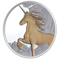 Creatures of Myth & Legend - Unicorn 1oz Silver Gilded Proof Tokelau Coin - Reverse