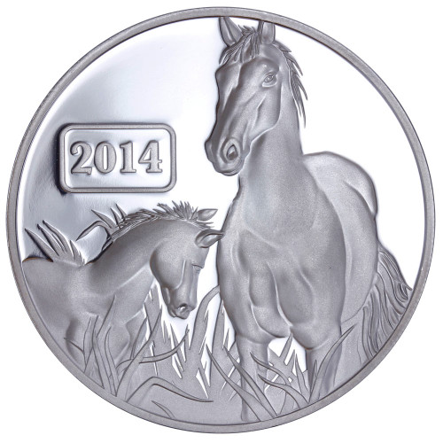 2014 Year of the Horse - Horse Family 1oz Silver Proof Tokelau Coin - Reverse