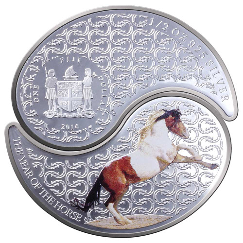 2014 Year of the Horse - Ying Yang Horse 0.5oz .925 Silver Coloured Proof Fiji Two Coin Set - Obv & Rev,