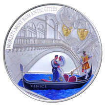 World's Most Romantic Cities - 2013 Venice 1oz Silver Coloured Gilded Proof Cook Islands Coin - Reverse