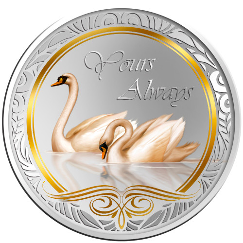 Messages of Love - 2013 Yours Always Swan Round Coloured Proof Tokelau Coin - Reverse