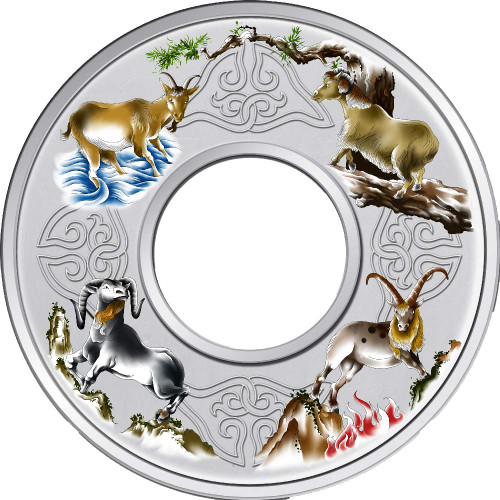 Elemental Goats 2oz Silver Coloured Proof Tokelau Coin - Reverse