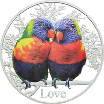 Messages of Love - 2015 Rainbow Lorikeets 1oz Silver Coloured Proof Tokelau Coin - Reverse