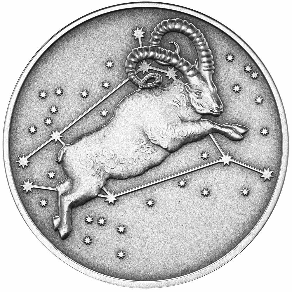 2015 Aries Silver Antique Finish Tokelau Coin Impresses