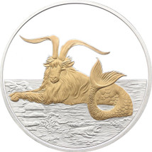 2015 Creatures of Myth & Legend - Capricornus 1oz Silver Gilded Proof Tokelau Coin by Treasures of Oz