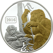 Monkey Family 1oz Gilded Proof Tokelau Coin