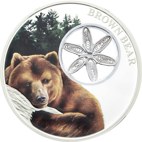 Brown Bear 1oz silver Tokelau coin with hand-woven filigree 'snowflake'.
